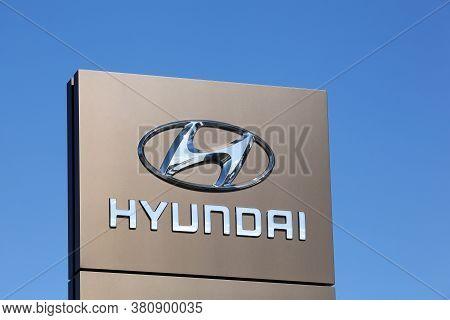 Risskov, Denmark - May 11, 2019: Hyundai Logo On A Signboard. The Hyundai Motor Company Is A South K