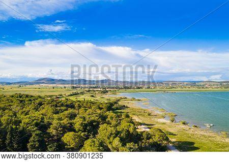Beautiful Nature Park Vrana Lake (vransko Jezero), Dalmatia, Croatia, Aerial Shot Of Lake Shore