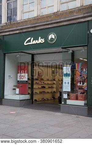 The Clarks Shoe Shop In Southampton In The Uk, Taken 10th July 2020