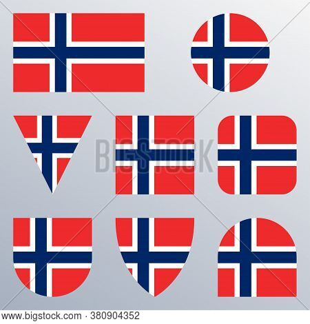 Norway Flag Icon Set. Norwegian Flag Button Or Badge In Different Shapes. Vector Illustration.
