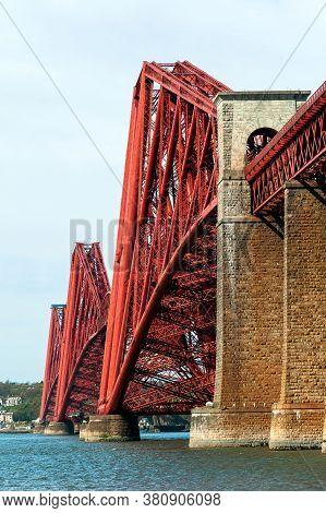 Edinburgh, United Kingdom - 04 19 2014: View Of The Forth Bridge, A Cantilever Railway Bridge Across