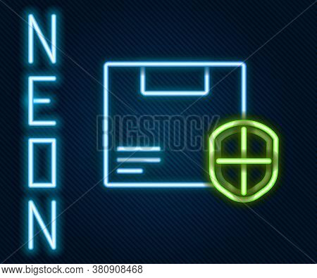 Glowing Neon Line Delivery Security With Shield Icon Isolated On Black Background. Delivery Insuranc