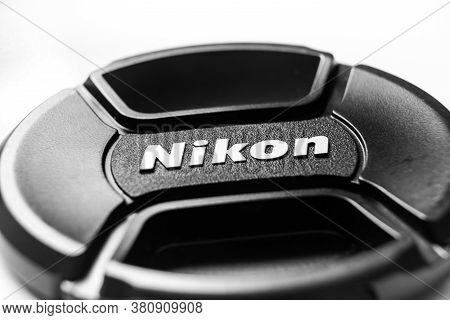 Isle Of Skye, Scotland, Uk - September 2015: Nikon Brand Lens Cap Isolated On White Background