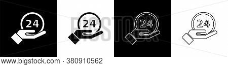 Set Clock 24 Hours Icon Isolated On Black And White Background. All Day Cyclic Icon. 24 Hours Servic