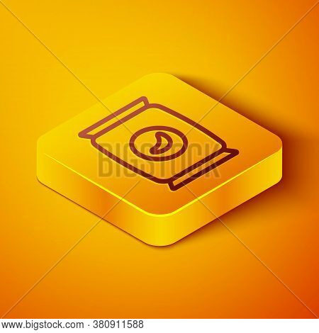 Isometric Line Bag Or Packet Potato Chips Icon Isolated On Orange Background. Yellow Square Button.