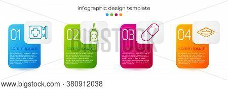 Set Line Hospital Signboard, Bottle Nasal Spray, Medicine Pill Or Tablet And Medicine Pill Or Tablet