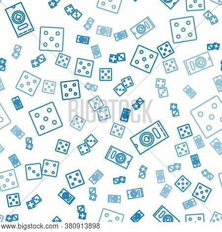 Set Line Game Dice, Casino Poker Tournament Invitation And Game Dice On Seamless Pattern. Vector