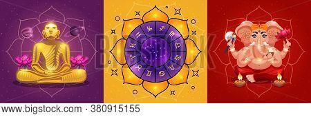 Vastu Vedic Hindu Astrology 3 Colorful Background Posters With Ganesha God Ritual Calendar Meditatio