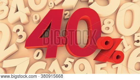 3d Rendering Of A Forty Percent Symbol On Numbers Background. 40%. Sale Of Special Offers. Discount
