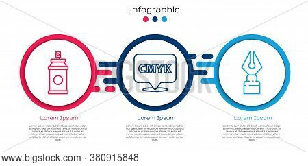 Set Line Paint Spray Can, Speech Bubble With Text Cmyk And Fountain Pen Nib. Business Infographic Te