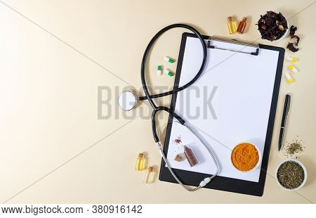 Alternative Medicine, Nathuropathy Or Ayurveda Concept. Blank Clipboard With Stethoscope, Various He