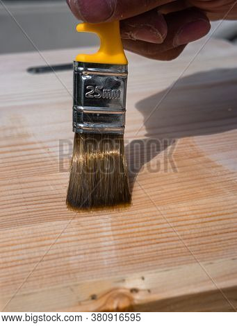 Open Wood With Varnish Using A Paint Brush. Brush On A Wooden Table, Fence, Or Floor. Open The Work