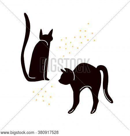 Black Cat Silhouette Halloween Design. Vector Witch Familiar Illustration. Black Spooky Cats.