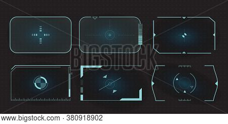 Futuristic Hud Frames For Target Screen And Border Aim Control Panel. Screen Elements Set Of Sci Fi