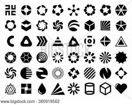 Vector Black Flat Design Elements For Your Logo Design. Editable Monochrome Geometric Shapes For Uni