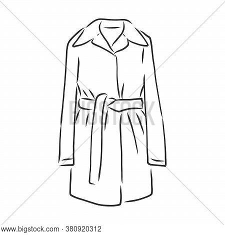Autumn Coat Hand Drawn Vector Illustration. Raincoat Sketch Design Element Isolated On White Backgro