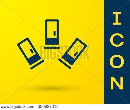 Blue Cartridges Icon Isolated On Yellow Background. Shotgun Hunting Firearms Cartridge. Hunt Rifle B