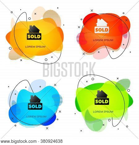 Black Hanging Sign With Text Sold Icon Isolated On White Background. Sold Sticker. Sold Signboard. A