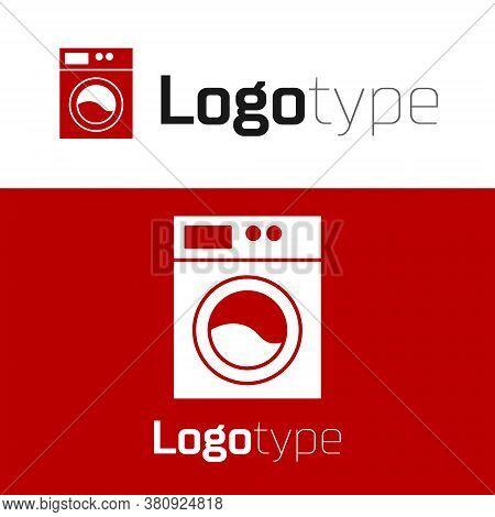 Red Washer Icon Isolated On White Background. Washing Machine Icon. Clothes Washer - Laundry Machine