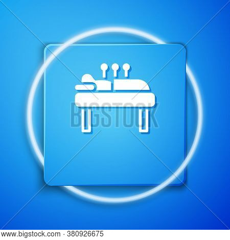 White Acupuncture Therapy Icon Isolated On Blue Background. Chinese Medicine. Holistic Pain Manageme