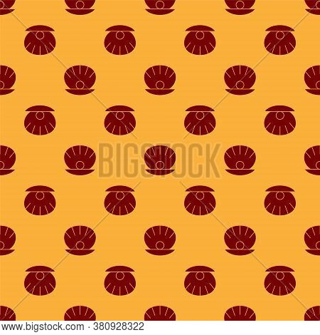 Red Natural Open Shell With Pearl Icon Isolated Seamless Pattern On Brown Background. Scallop Sea Sh