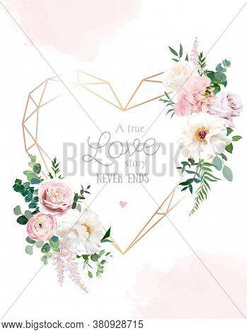 Flower Geometric Heart Line Art Vector Design Frame. Wedding Watercolor Flowers. Ivory White Peony,
