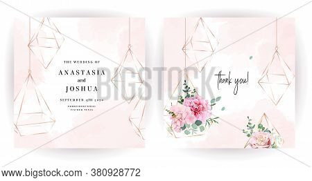 Flower Geometric Glass Hanging Terrariums Vector Design Frames. Wedding Watercolor Flowers. Blush Pe