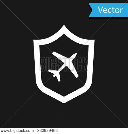 White Plane With Shield Icon Isolated On Black Background. Flying Airplane. Airliner Insurance. Secu