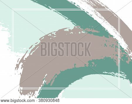 Horizontal Border With Paint Brush Strokes Background.  Modern Design Template For Card. Vector Bord