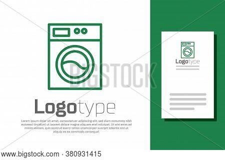 Green Line Washer Icon Isolated On White Background. Washing Machine Icon. Clothes Washer - Laundry