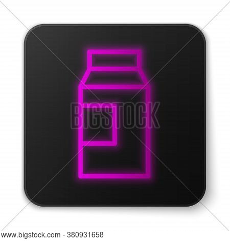 Glowing Neon Line Paper Package For Milk Icon Isolated On White Background. Milk Packet Sign. Black