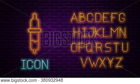 Glowing Neon Line Pipette Icon Isolated On Brick Wall Background. Element Of Medical, Chemistry Lab