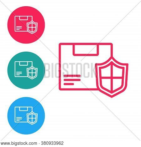 Red Line Delivery Security With Shield Icon Isolated On White Background. Delivery Insurance. Insure