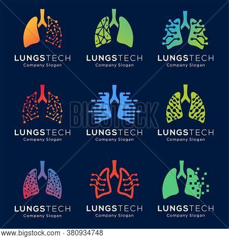 Set Of Human Lungs Logo Designs Template, Lungs Technology Logo Design Vector, Respiratory System Lo