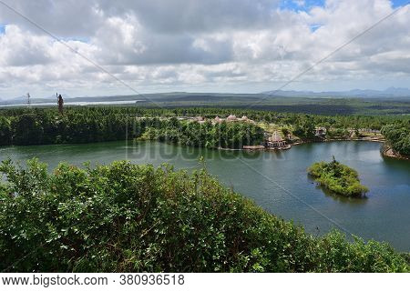 View From Above At Grand Bassin Lake, Mauritius. Grand Bassin Is A Sacred Crater Lake Is One Of The