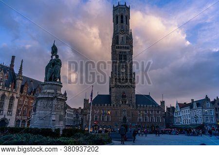 .bruges, Belgium - 14 November 2019: Tower In Central Market Of Bruges, Belgium