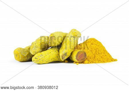 Turmeric Peeled Root And Turmeric Powder Isolated On White Background, Healthy Spice Curcumin ( Curc