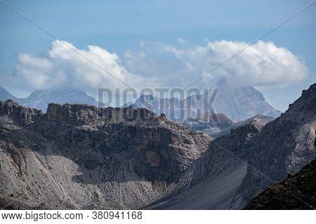 Picturesque Autumn Alps Mountain Scene. View From Famous Italian Dolomites Seceda Rock, Sass Rigais,