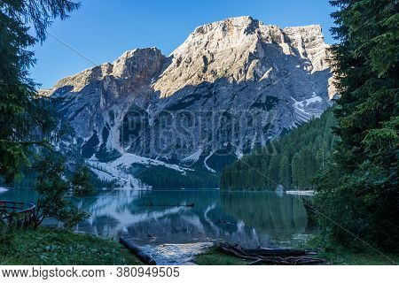 View Of Braies Lake In Dolomites Mountains And Seekofel In The Morning, Sudtirol, Italy