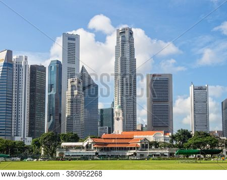 Singapore - January 24, 2016: Singapore Cricket Club On The Padang In The Heart Of The City