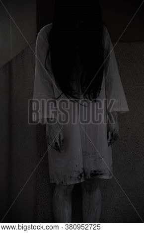 Horror Woman Ghost Creepy Stand In The House, Halloween Day Concept