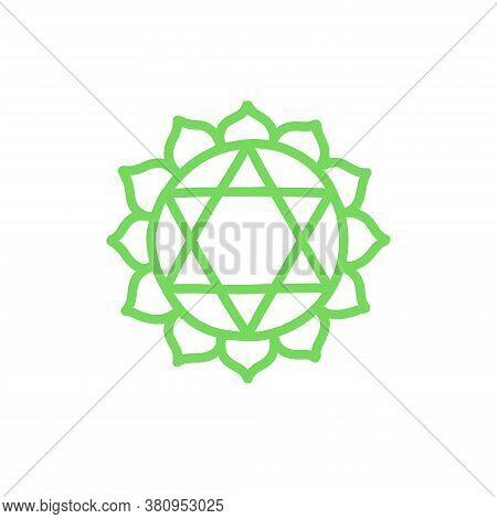 Chakra Anahata Doodle Icon, Vector Color Illustration