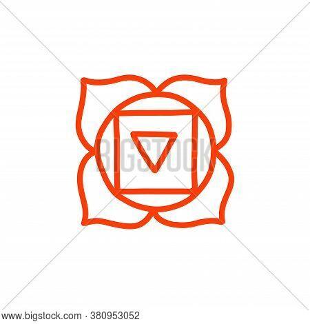 Chakra Muladhara Doodle Icon, Vector Color Illustration