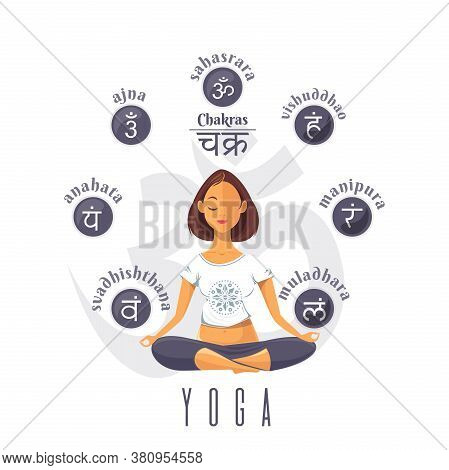 Cute Young Woman Sitting At Pose Of Lotus And Meditating And Chakra Symbol Set. Chakra - Inscription