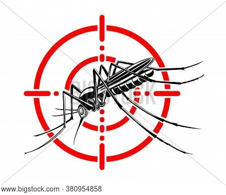 Mosquito In Red Crosshairs. Insecticide. Stop Mosquito. Vector Illustration