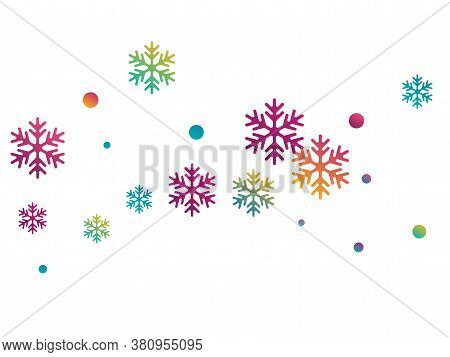Crystal Snowflake And Circle Shapes Vector Graphics. Macro Winter Snow Confetti Scatter Poster Backg