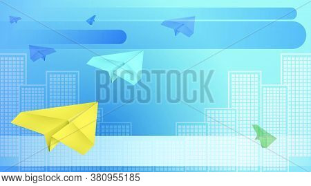 Paper Airplanes Flying Against Backdrop Of Metropolis. Email Concept. Delivery Of Letters. Internati