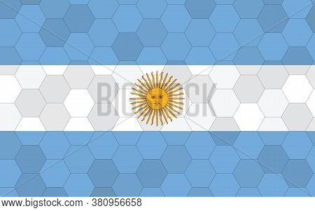Argentina Flag Illustration. Futuristic Argentinian Flag Graphic With Abstract Hexagon Background Ve