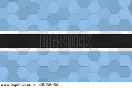 Botswana Flag Illustration. Futuristic Batswana Flag Graphic With Abstract Hexagon Background Vector