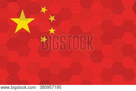 China Flag Illustration. Futuristic Chinese Flag Graphic With Abstract Hexagon Background Vector. Ch
